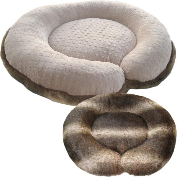 Two sided faux fur dog bed