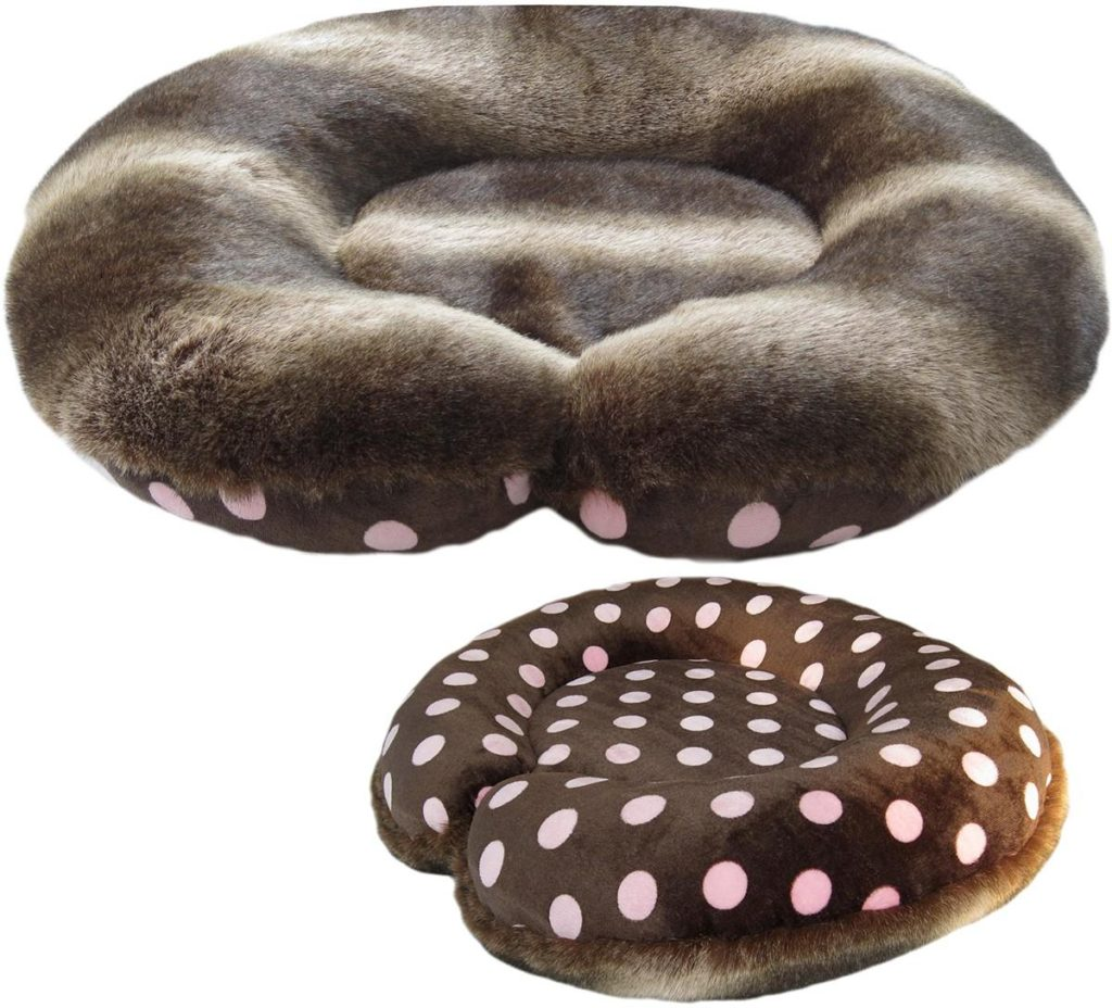 raccoon faux fur dog bed
